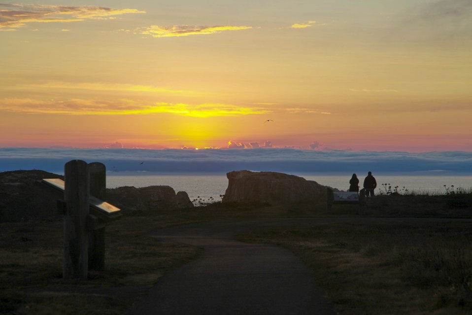 Coquille Point sunset, Oregon Islands NWR