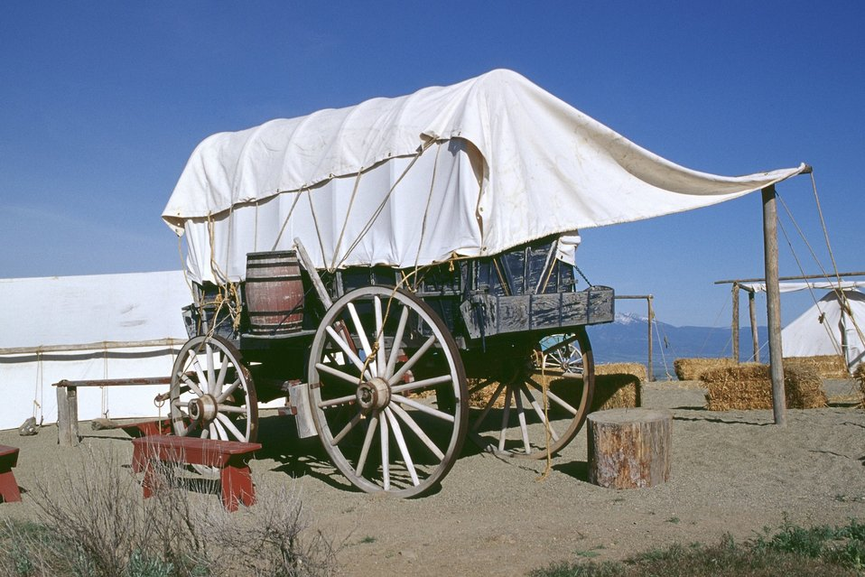 Covered wagon encampment from wagon train reenactment. NHOTIC 10th Anniversary.
