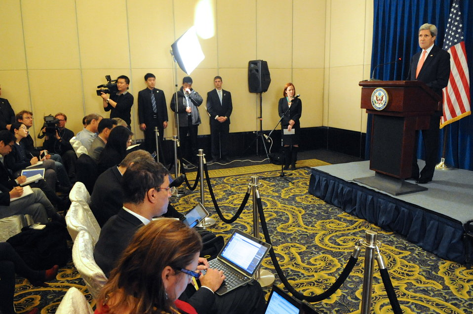 Secretary Kerry Addresses Reporters After Meetings in Beijing
