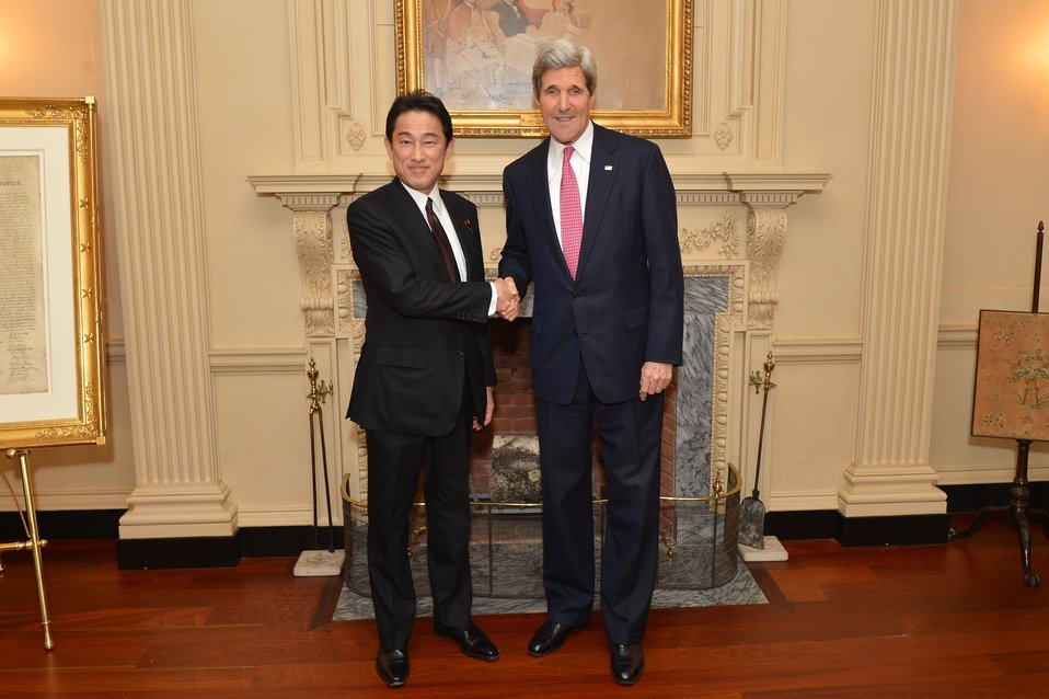 Secretary Kerry and Japanese Foreign Minister Kishida Shake Hands
