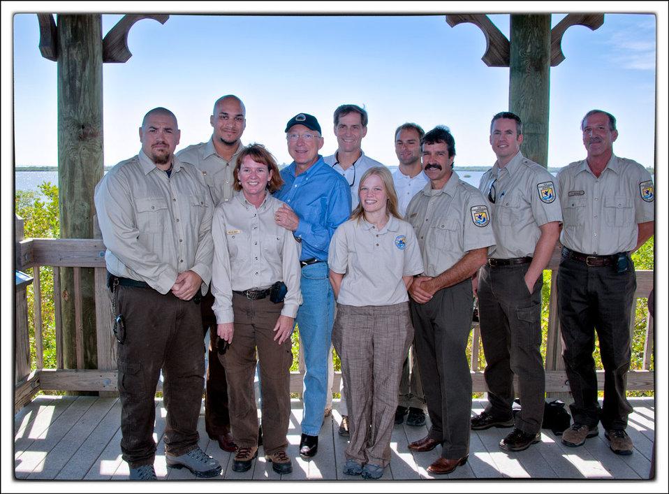 Secretary Salazar Director Dan Ashe and Pelican Island NWR Staff