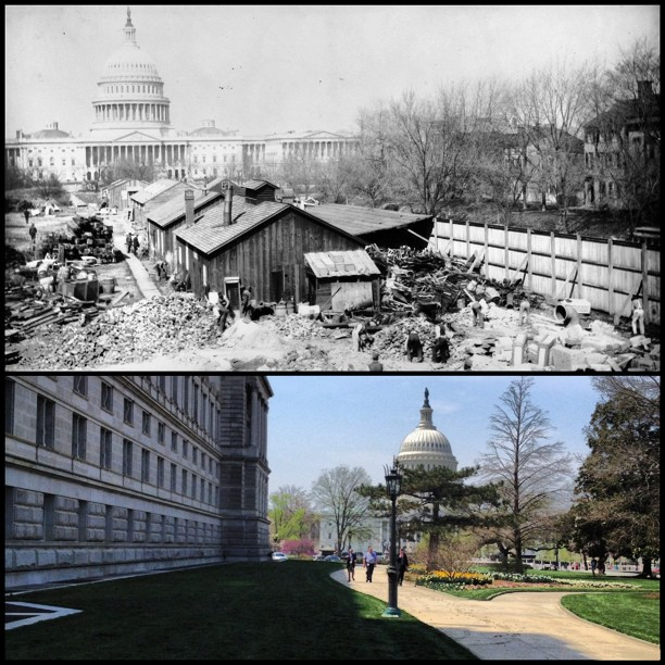 View of Capitol and Library of Congress Jefferson Building on April 11, 1895 and 2013.