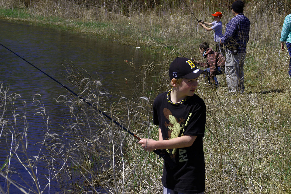 Student Fishes at the Far Bass Ponds