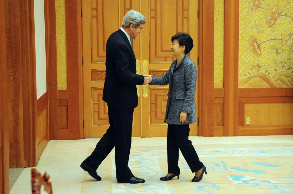 South Korean President Park Greets Secretary Kerry in Seoul