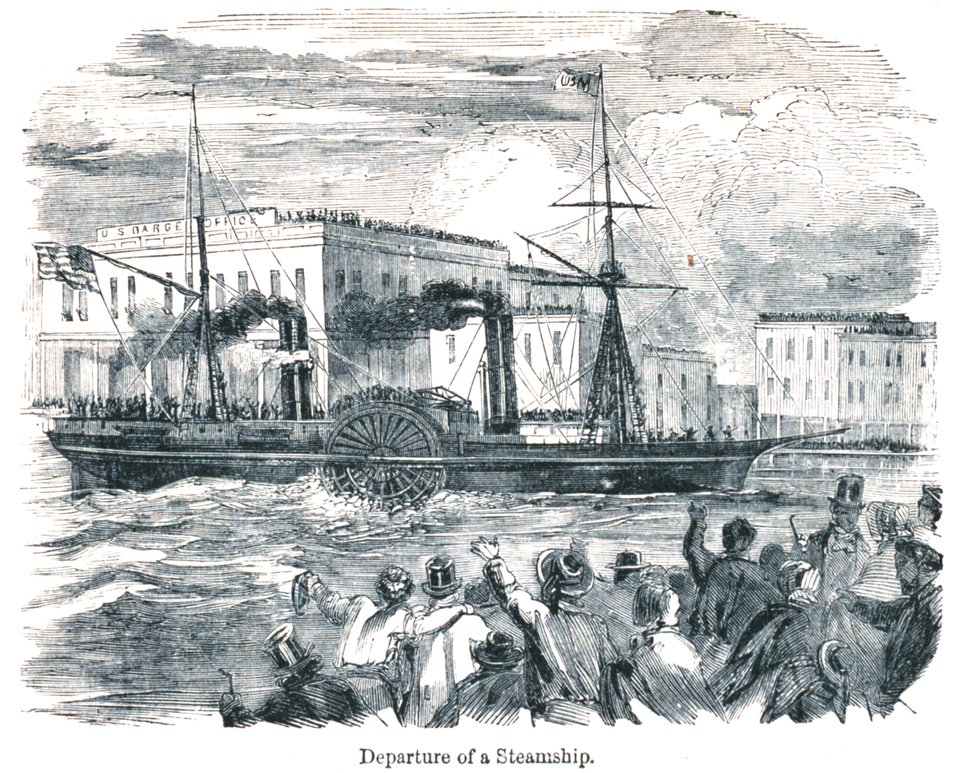 Departure of a steamship. In: 'The Annals of San Francisco'.  Frank Soule, John Gihon, and James Nesbit.  1855.  Page 626.  D. Appleton & Company, New York.  F869.S3.S7 1855.