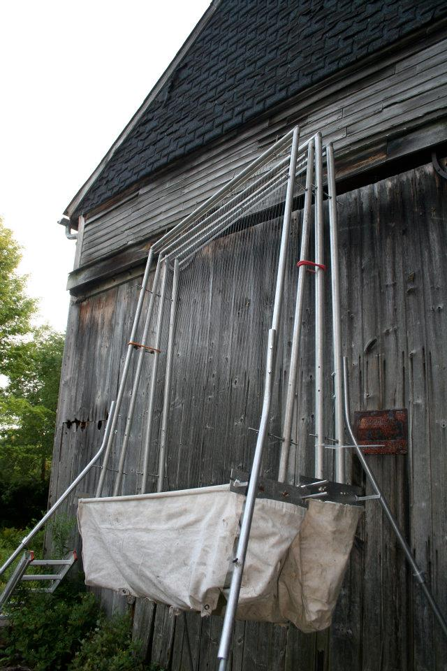 Harp trap used to capture bats leaving barn