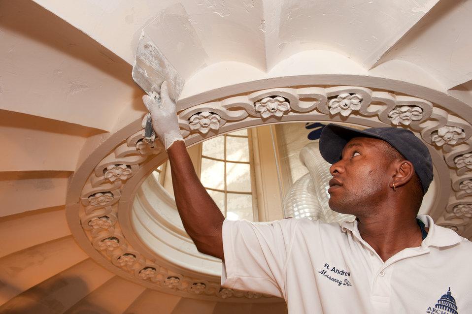 Plaster repairs underway at the U.S. Capitol
