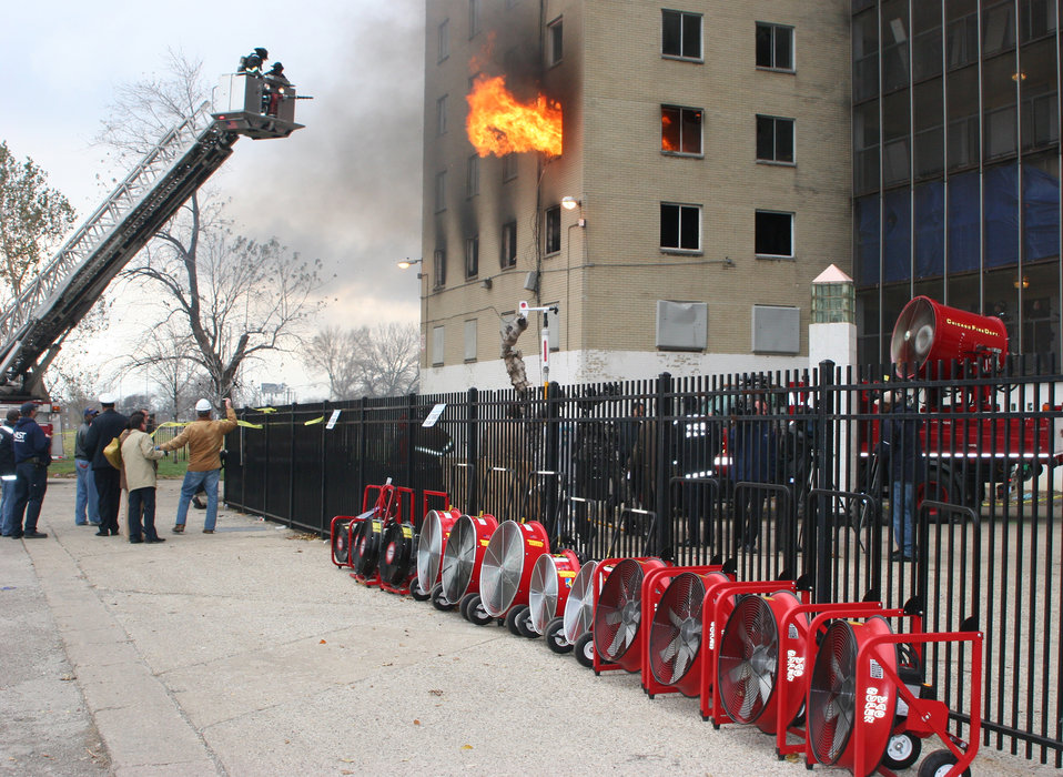 High-Rise Fire Test; Positive Pressure Ventilation Fans