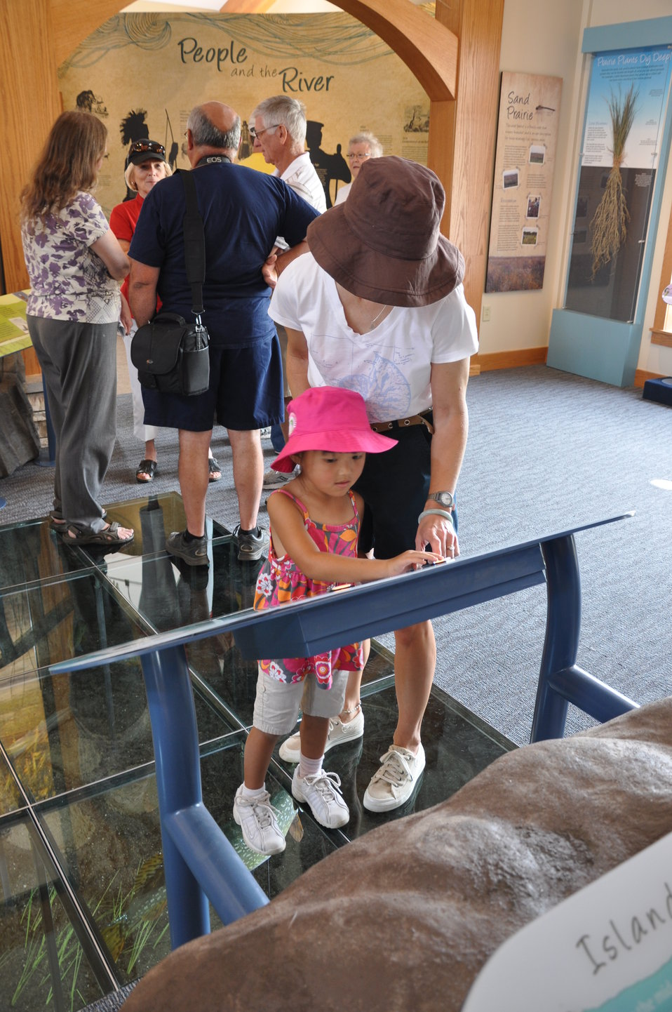 Exploring exhibits at La Crosse visitor center