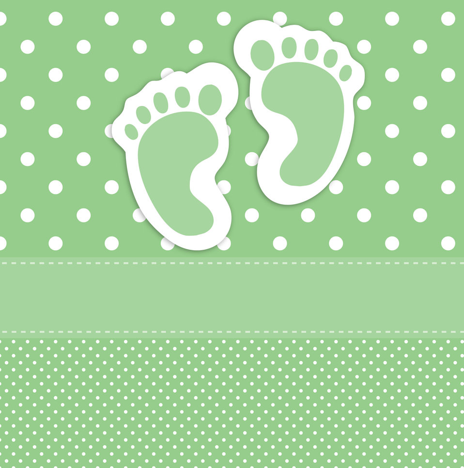 Baby footprints card template