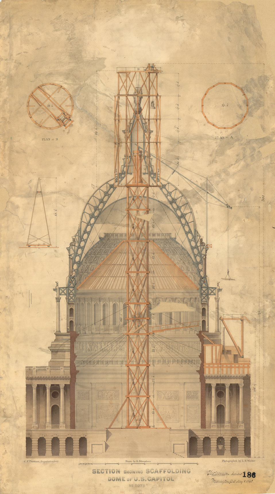 1863 Drawing of Scaffold for Statue of Freedom