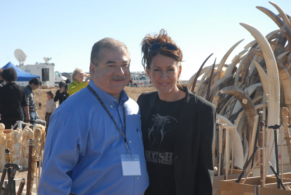 Joely Fisher, actress and IFAW Ambassador, poses with Bryan Arroyo, Assistant Director for the U.S. Fish and Wildlife Service International Affairs program, at the U.S. Ivory Crush.