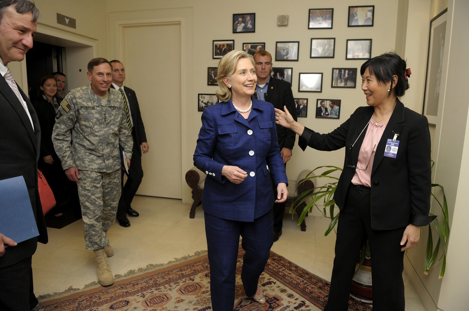 Secretary Clinton Is Greeted at the U.S. Embassy Kabul in Afghanistan