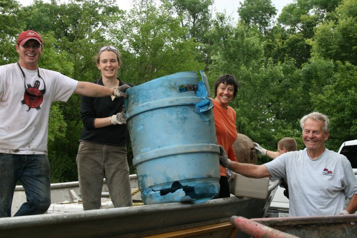Chad, Sarah, Christine and David with their prize barrel