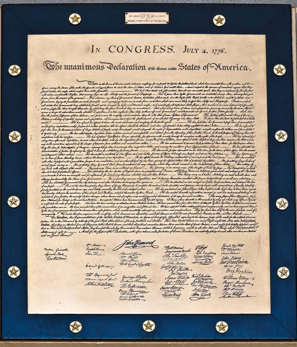 Declaration of Independence Plaque