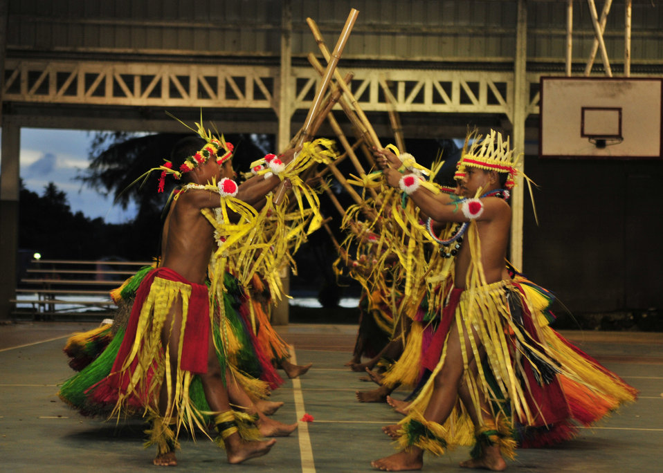 Micronesian School Students Perform a Traditional Micronesian Dance
