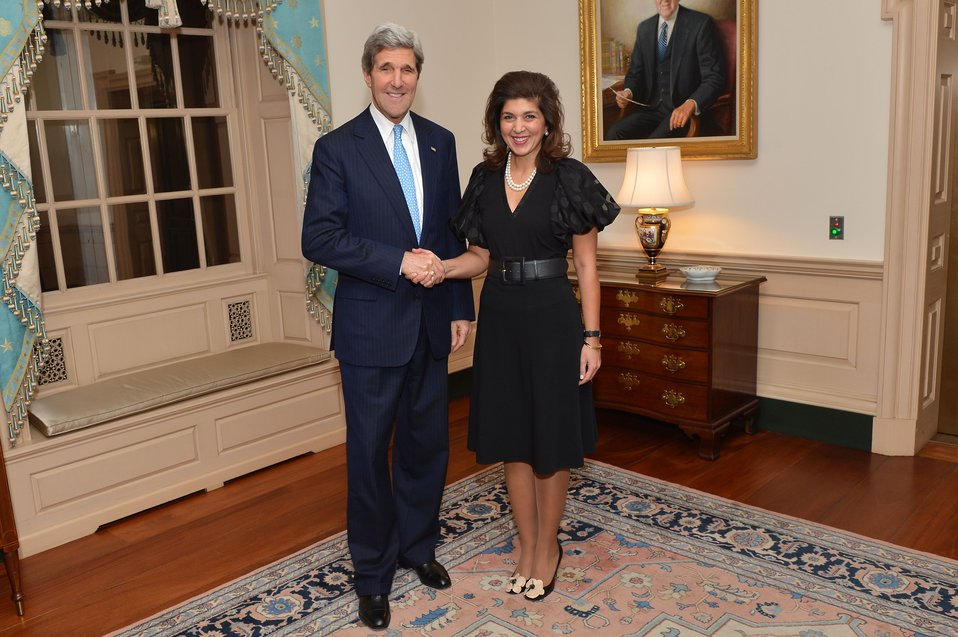 Secretary Kerry Poses for a Photo With Special Representative Pandith