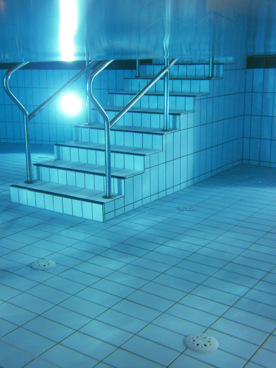 Pool stairs underwater