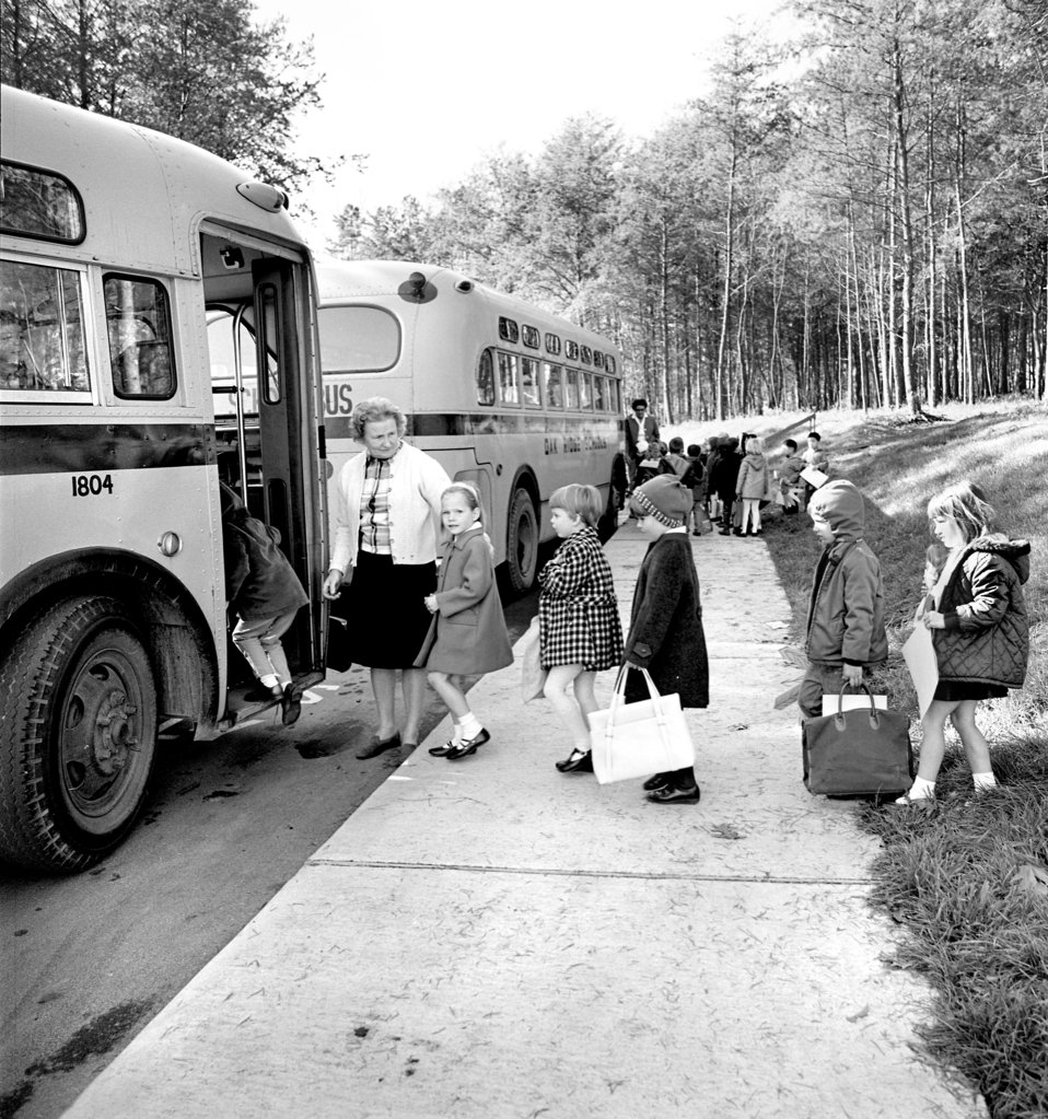 Children loading on Oak Ridge School Bus 1968