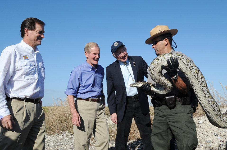 Secretary Salazar, Senator Ben Nelson, and Dan Ashe Greet Snake