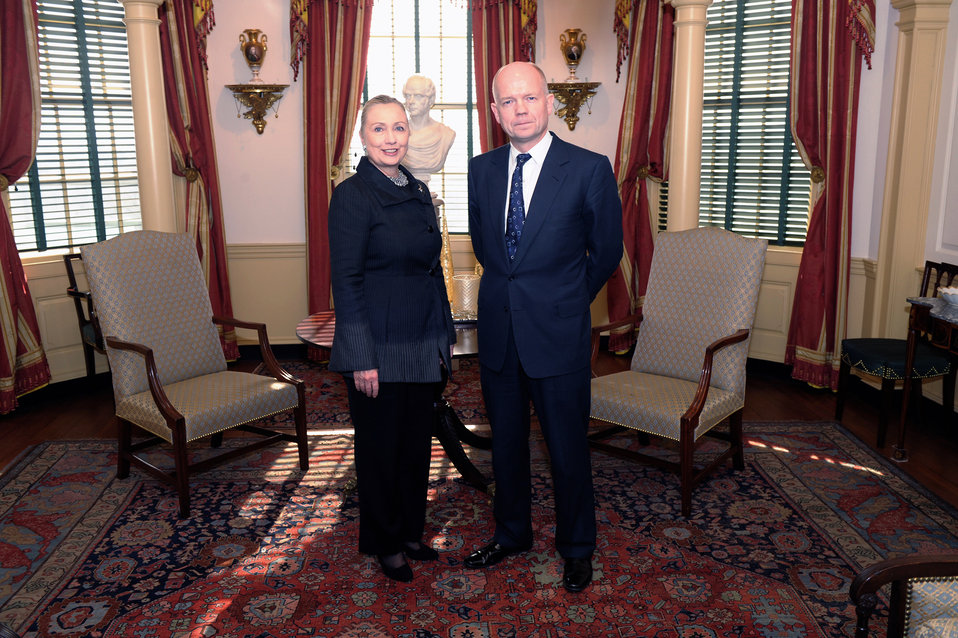 Secretary Clinton Meets With UK Foreign Secretary Hague