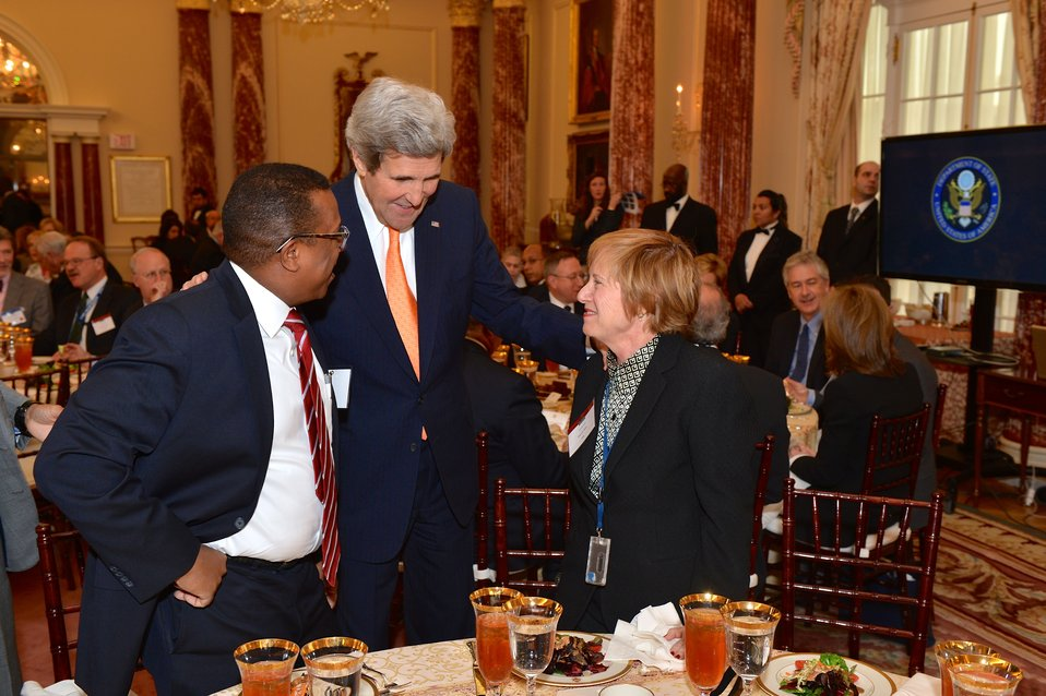 Secretary Kerry Chats With Ambassador-Designate Nichols and Ambassador Ries