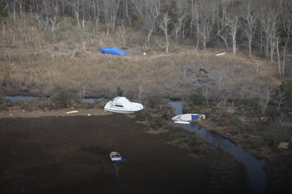 Boats washed ashore on Edwin B. Forsythe National Wildlife Refuge (NJ)