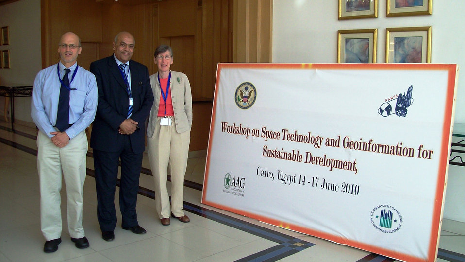 U.S. Representatives Pose for a Photo at the Workshop on 'Space Technology and Geoinformation for Sustainable Development'