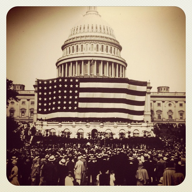 Happy Flag Day! First Flag Day at Capitol June 9, 1919, flag was largest in world at 90'x165'