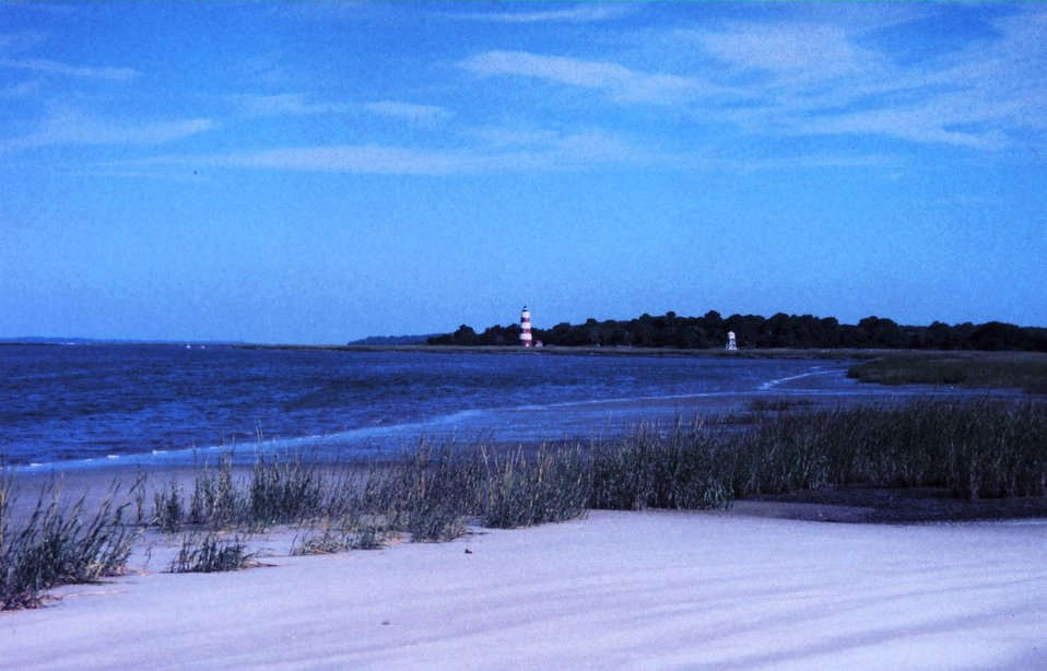 The Sapelo Island lighthouse was built in 1820 on the south end of the island. It continues to serve as a navigational landmark for boatmen entering Doboy Sound and Duplin River system.