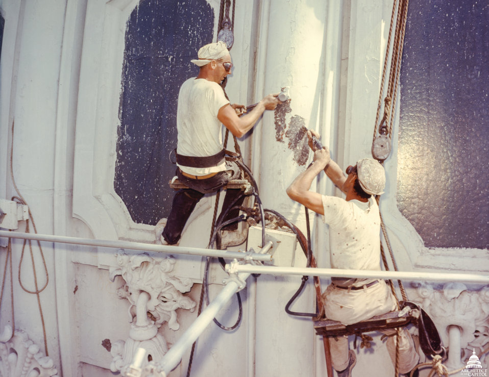 Workmen Make Dome Repairs 1960