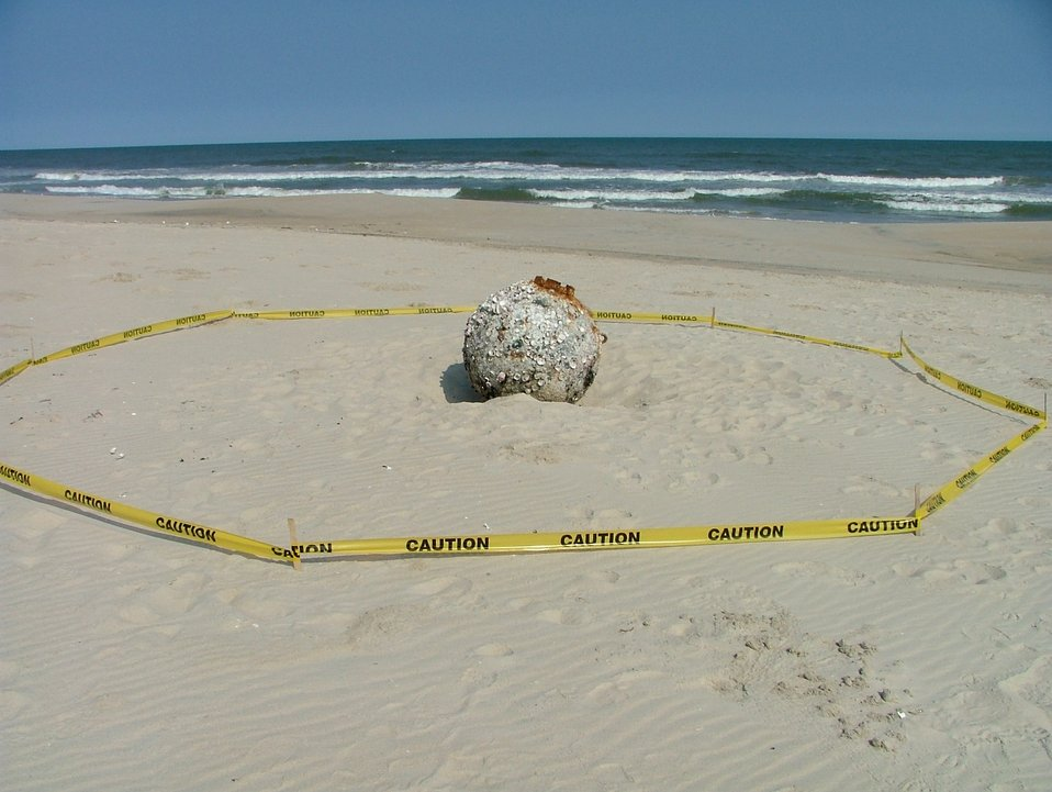 Mine washes up on shore at Chincoteague NWR