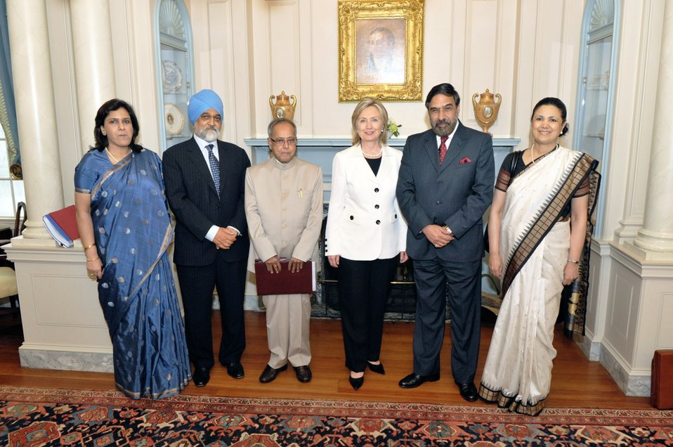 Secretary Clinton With Indian Ministers and Ambassador