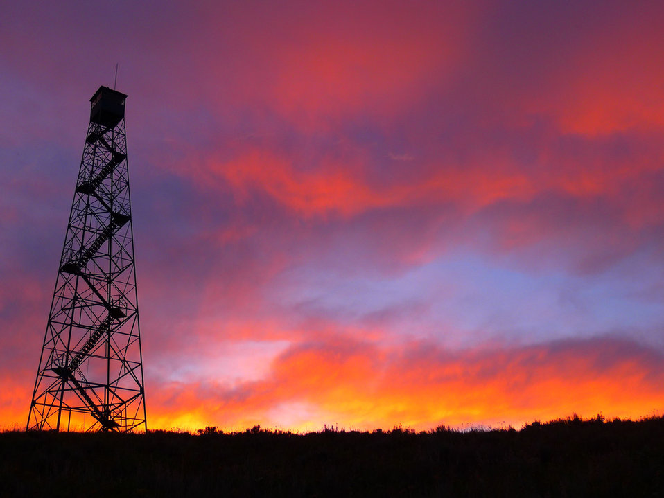 sunset at the fire tower