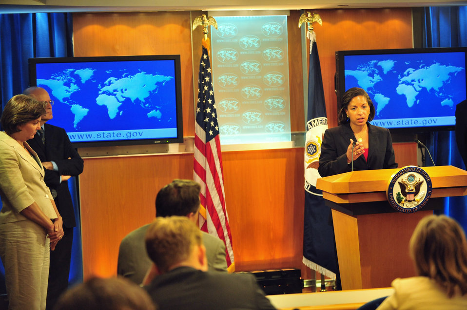 Ambassador Rice Addresses Reporters