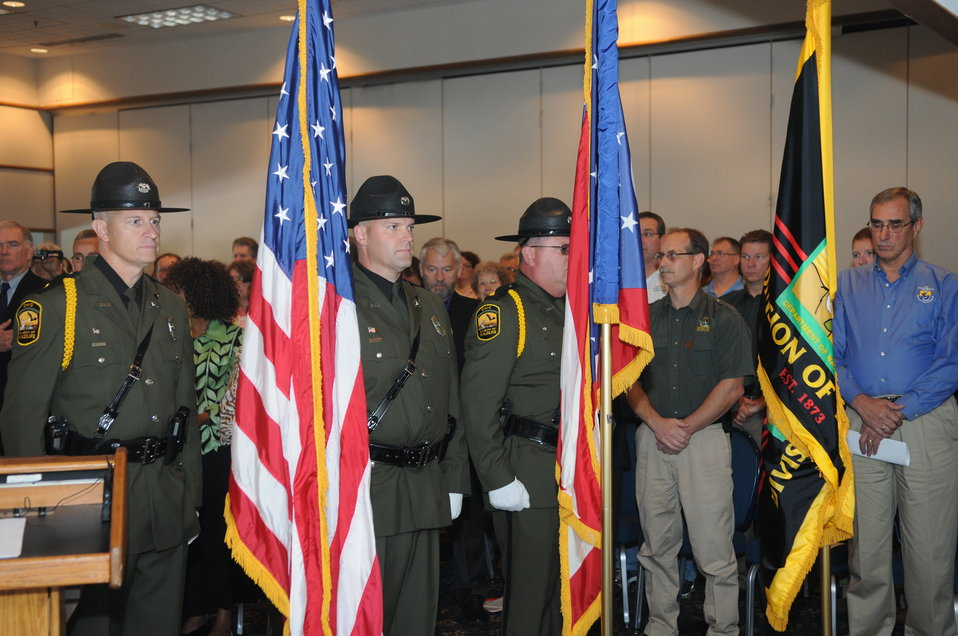 Ohio Division of Wildlife Color Guard during national anthem