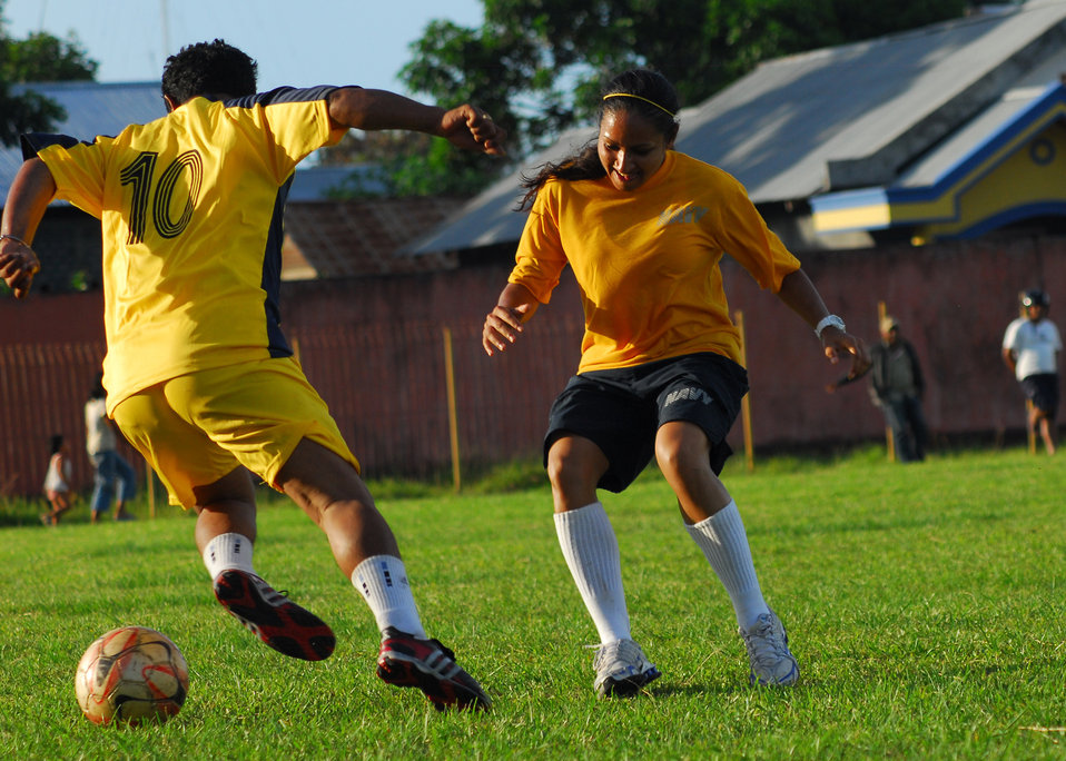 Lt. j.g. Persad Plays Defense During a Soccer Match