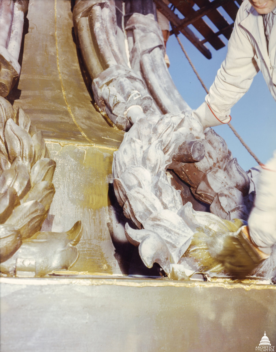 Statue of Freedom Base Maintenance 1960 Close-up