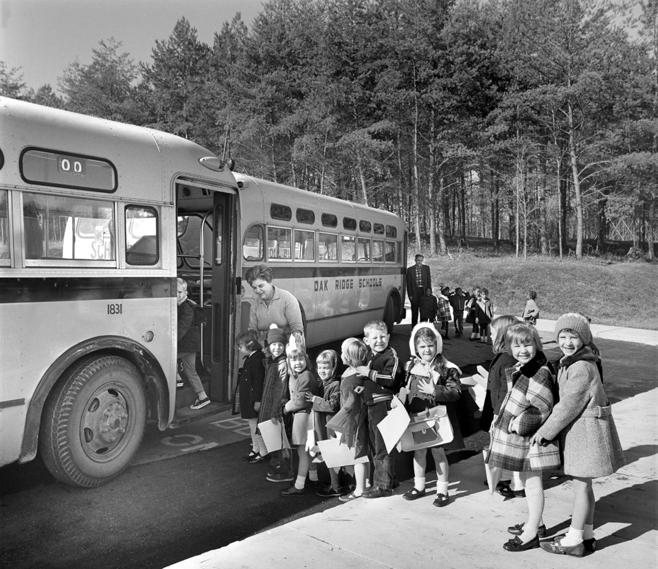 Childern getting on School Bus Oak Ridge 1968