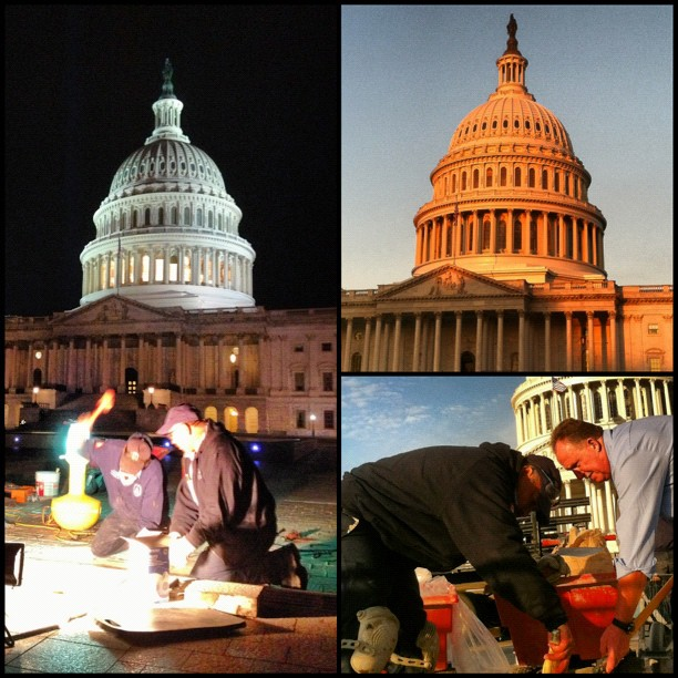 While you were sleeping; AOC masons working at Capitol till sunup. #dc