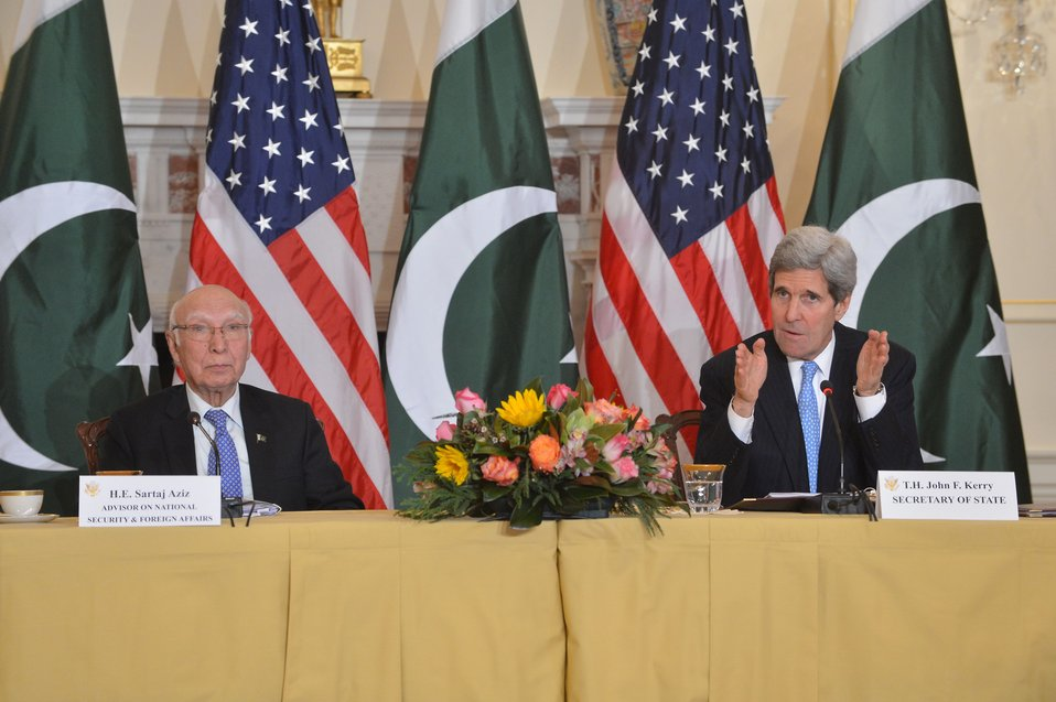 Secretary Kerry and Pakistani National Security and Foreign Affairs Advisor Aziz Participate in the U.S.-Pakistan Strategic Dialogue Plenary Session