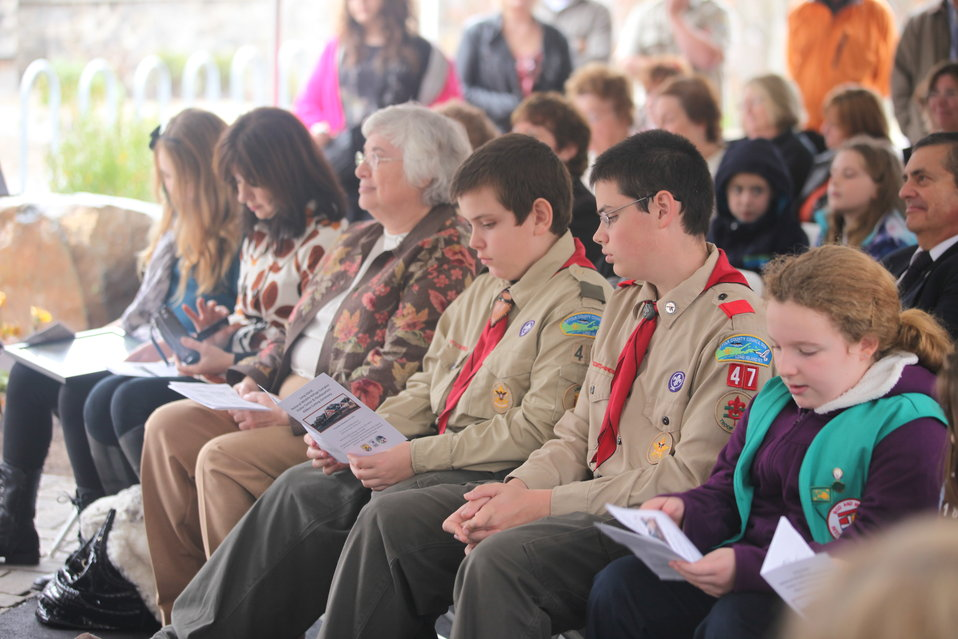 Boy & Girl Scout Troop members at opening ceremony