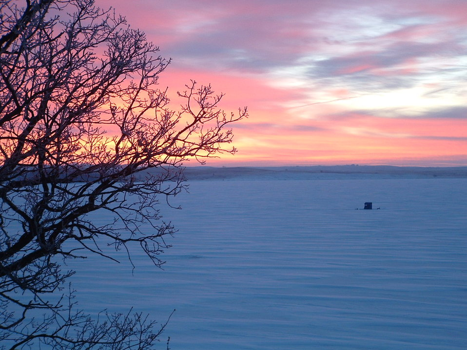 Ice Fisherman at Sunrise, Waubay National Wildlife Refuge