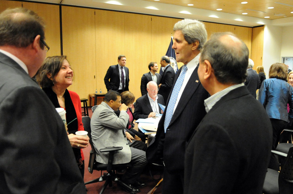 Secretary Kerry Chats With Senior Managers Amid Staff Retreat