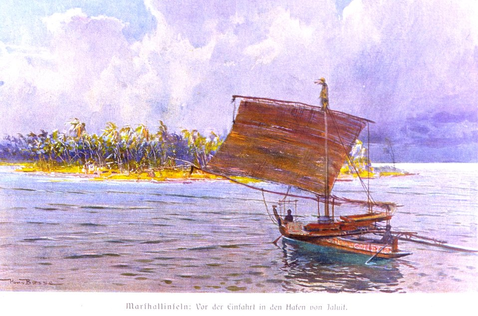 A palm-covered atoll with a native sailing craft in the Marshall Islands. In: 'Das Deutsche Kolonialreich,' by Hans Meyer, 1909.  Vol II, p. 340. Library Call Number: Cfd M612 d
