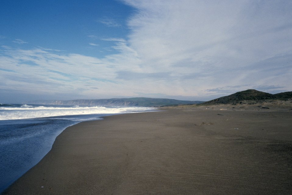 Point Reyes Great Beach south end.  Looking north toward Kehoe Beach and Bodega Head.