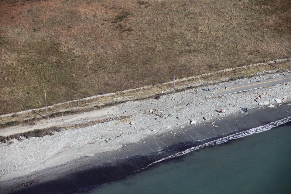 Debris on entrance road to Sachuest Point National Wildlife Refuge (RI)
