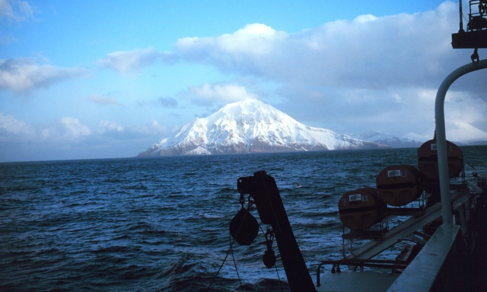 An Aleutian peak and coastline