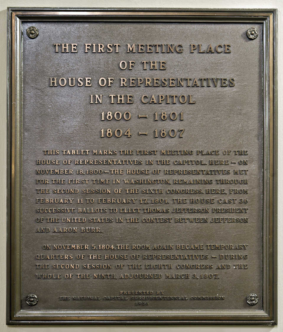 First Meeting Place of the House of Representatives in the Capitol Plaque