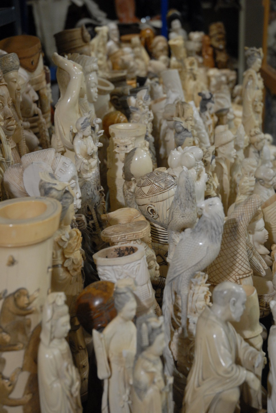 Intricate carvings of contraband ivory slated for destruction in the crush.